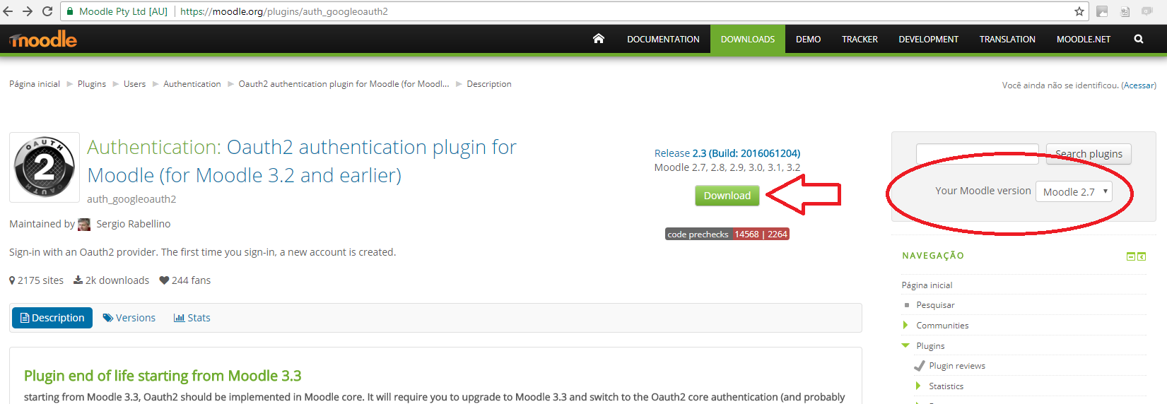 tela do doenload do pluggin do Oauth para Moodle